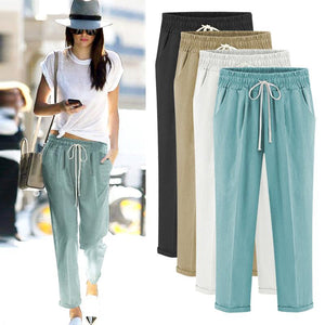 Harem Pants High Waist cotton plus size Ankle length thin trousers