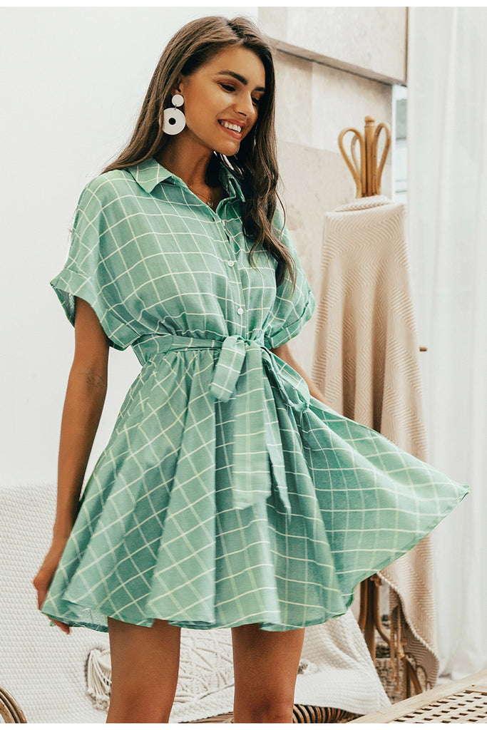 Elegant plaid sashes Button sleeve A-line dress