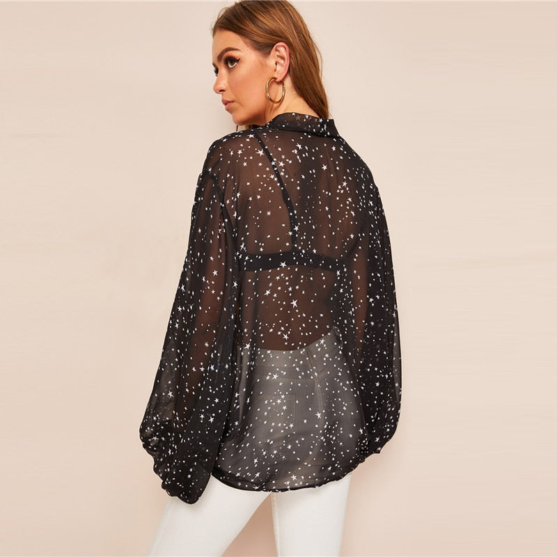 Black Allover Star Lantern Sleeve Knot Sheer Kimono Without Bra Top