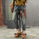 Retro Women Slim-type Slim-type New Elastic Waist pocket Bleached kitten Jeans