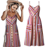 Bohemian Floral Tunic Pocket Female Striped Dresses