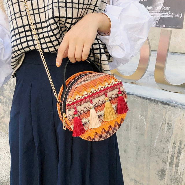 PU Leather Wind Portable Tassel Chain Small Round Bag