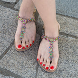 Shining bohemia sandals flip flop Rhinestone shoes