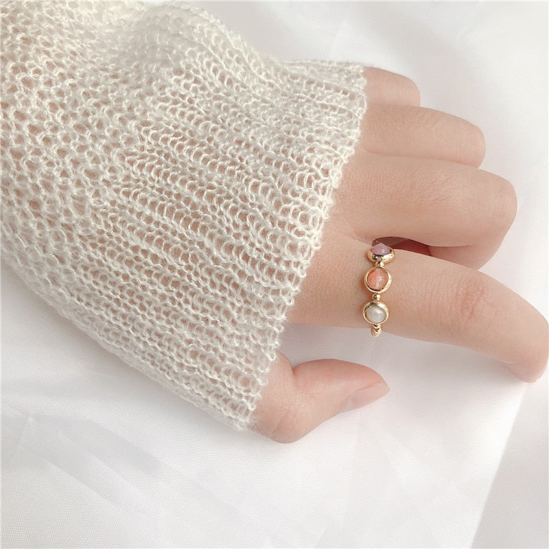 Cute Simple Style Three Color Stone Beads Elastic Ring