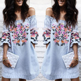Floral Printing Off Shoulder Dress