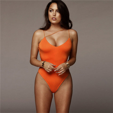 Summer Solid Orange Green One Piece Swimwear Backless Monokini