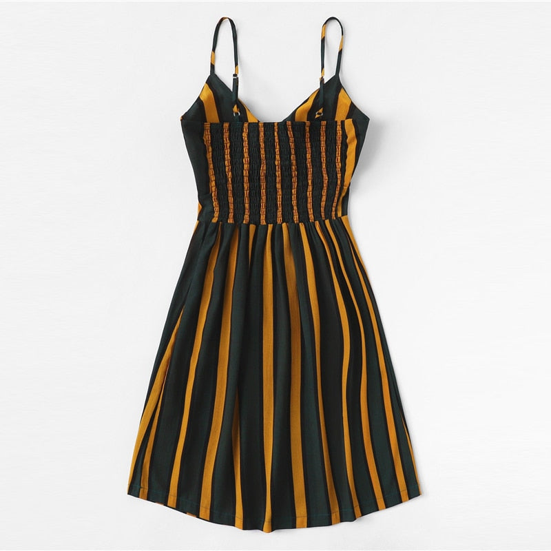 Boho Pleated Back Knot Striped Cami Dress