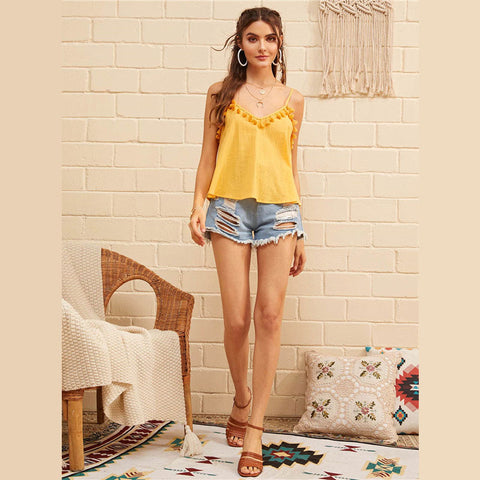 Boho Yellow Tassel Trim Cami Summer Top