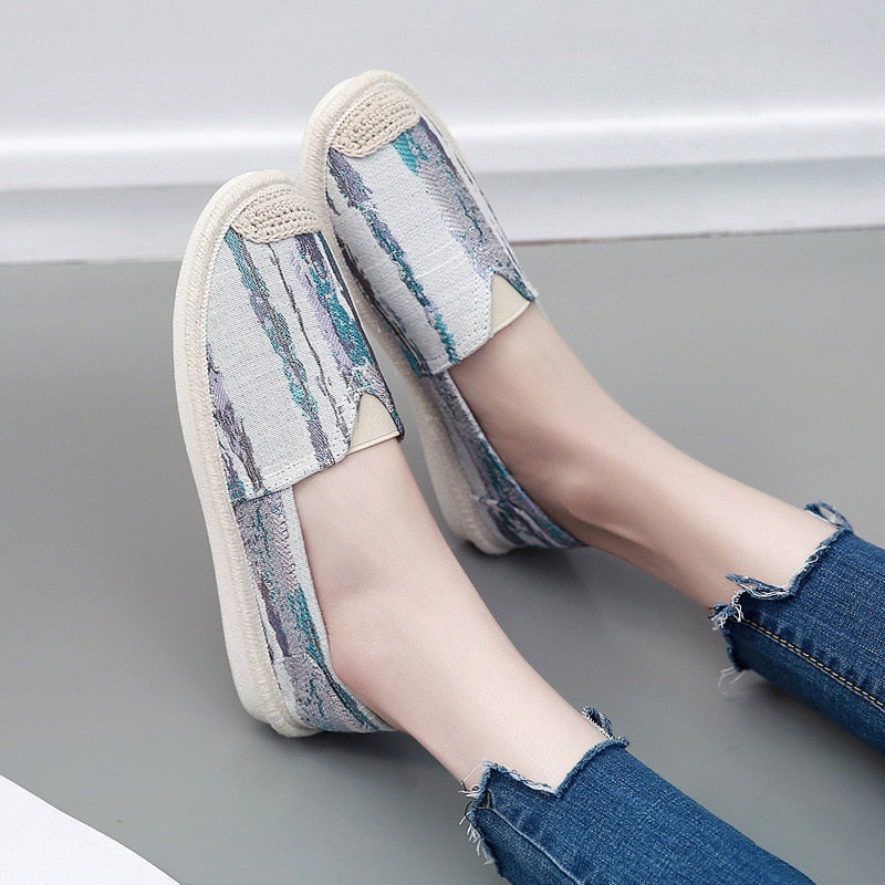 Casual Loafers Slip On Flats Canvas Espadrilles Fisherman Shoes