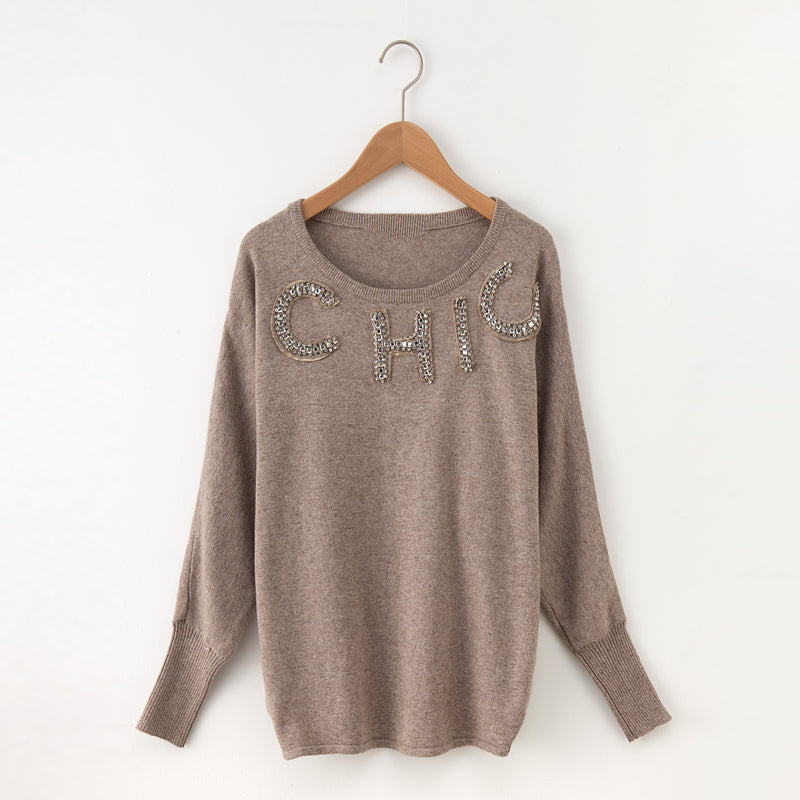 Casual Knitted O-neck Pullovers Beading Solid Soft Sweater
