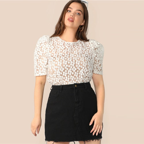 Plus Size White Tie Back Puff Sleeve Embroidered Mesh Top Blouse