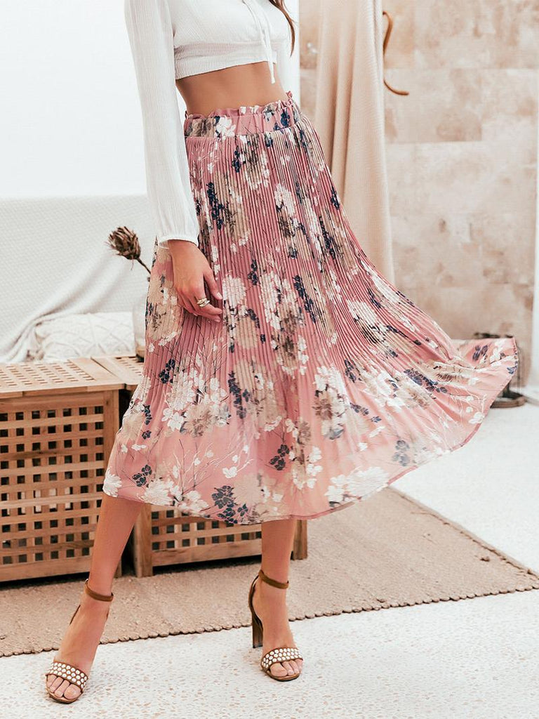 Bohemian Floral print chiffon long pleated skirt