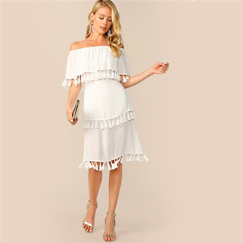 Off Shoulder Layered Tassel Hem Summer Dress