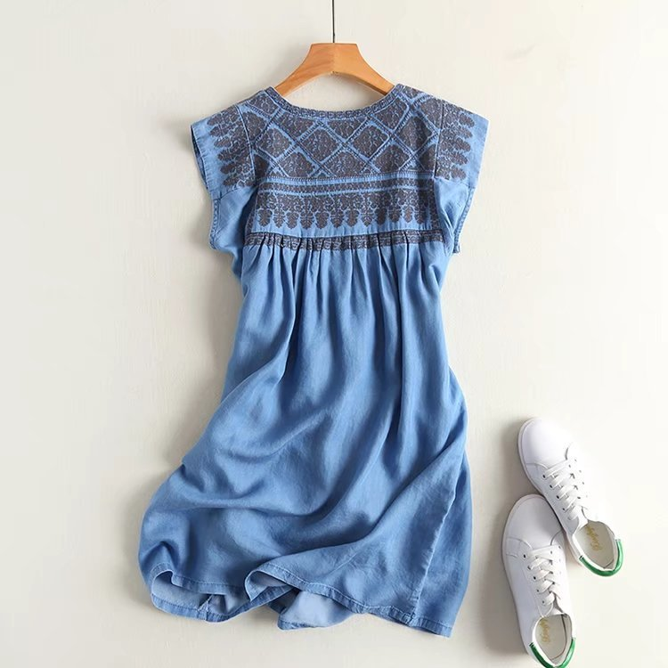 Boho Embroidery denim waist pleated dress