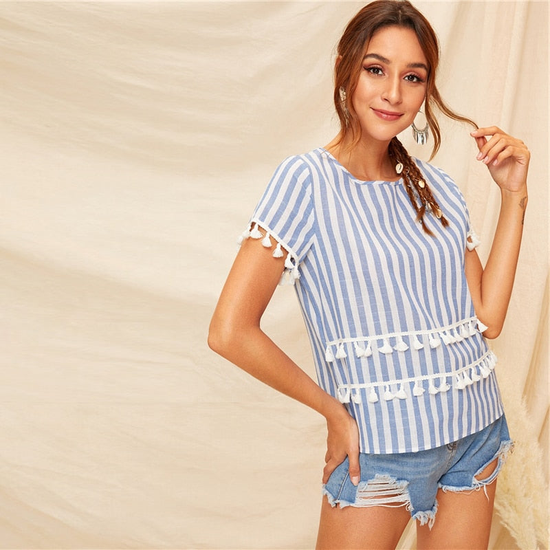 Tassel Detail Striped Blue Basic Short Sleeve Blouse