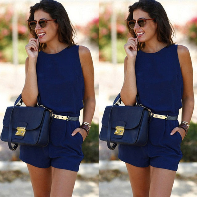 Summer Casual Sleeveless Playsuit Office Backless Short Jumpsuit Solid Romper