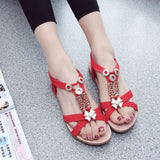 Fashion Women Boho Sandals Leather Flat Sandals