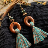 Bohemian Fringe Wooden Tassel Earrings