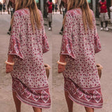 Boho Flowers Print Button Down Flare Sleeve Loose Maxi Dress