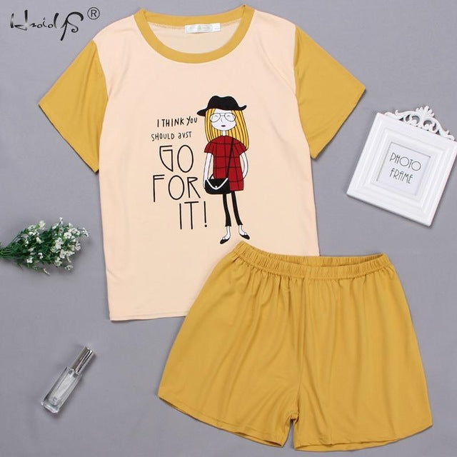 Cartoon Cute Animal Print Short Sleeve T shirt + Shorts Sleepwear