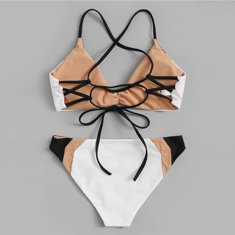 Ruched Lace-up Back Top With Color-block Swimwear Sport Bikinis Set
