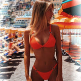 Sexy Solid Low Waist Brazilian Bikini Set
