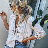 Lace Hollow Slim Boho Blouses