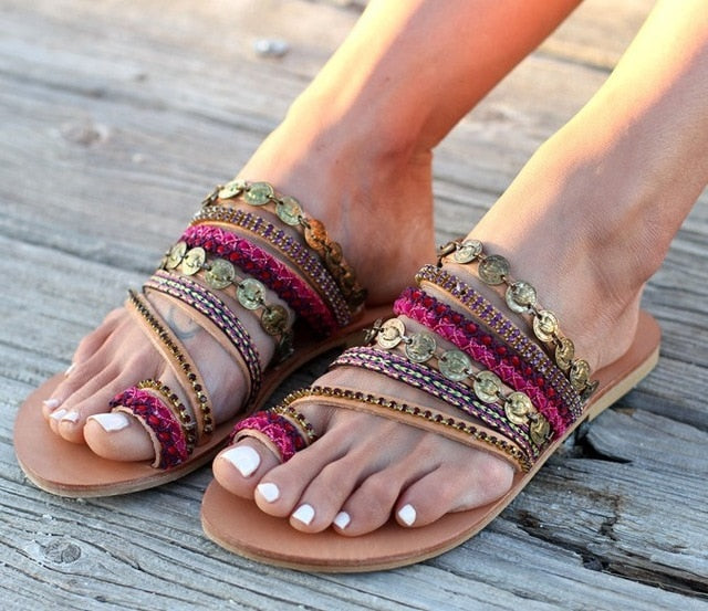 Cross-Tied Bling String Bohemian Flat Beach Flip Flops Sandals