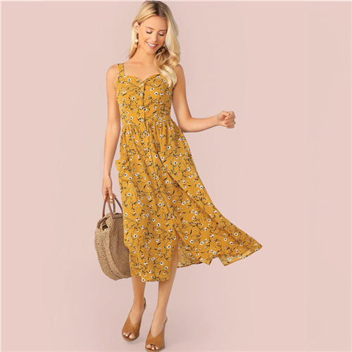 Ginger Boho Ditsy Floral Button Front Slip Dress