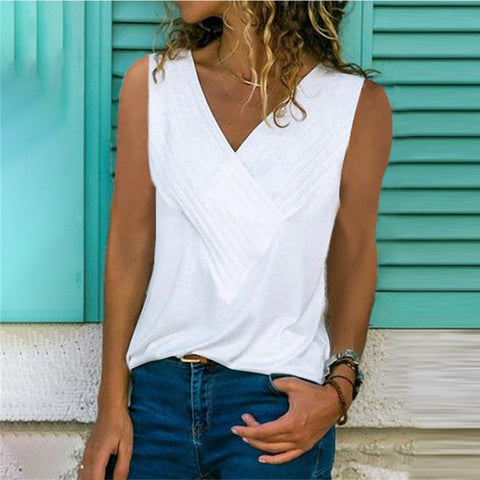 V-neck Vest Casual Sleeveless Cotton Blends Top