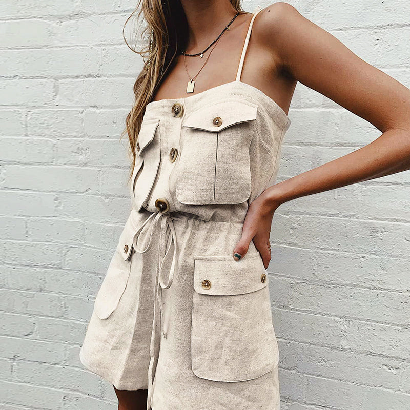 Pockets lace up button short Vintage jumpsuit