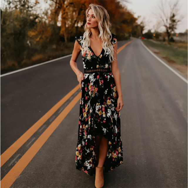 Bohemian Sleeveless Backless Floor-length Fit Flare V Neck Flower Long Dress