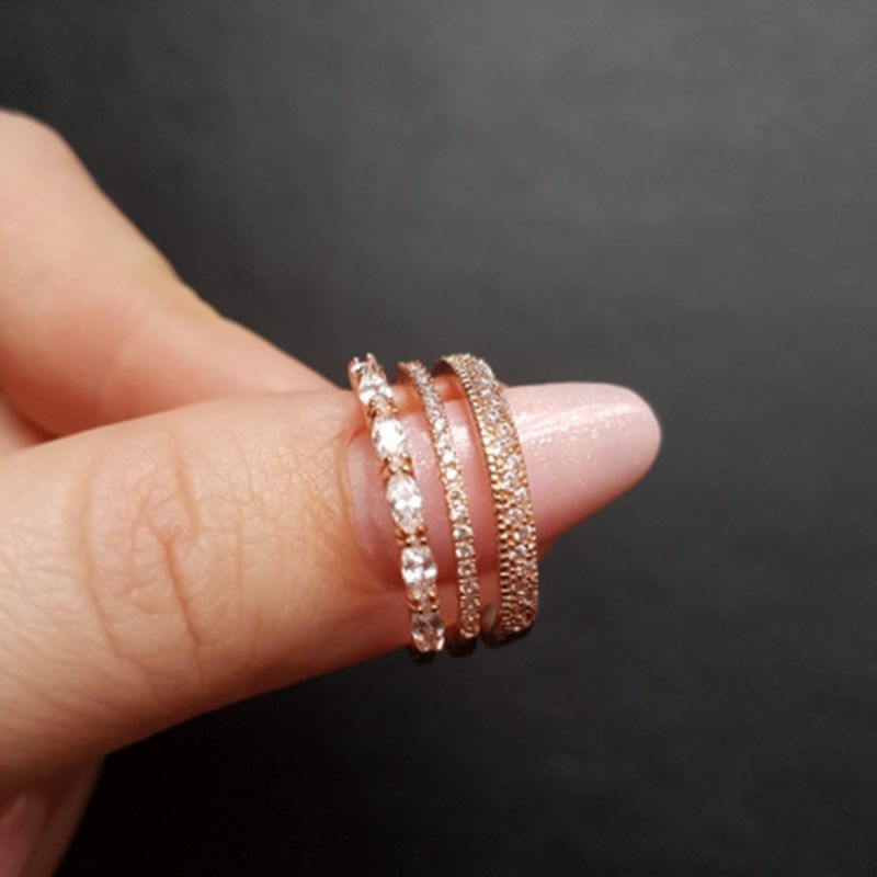 Multilayer Opening Design Cubic Zircon Ring