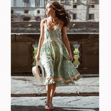 Vintage Strappy Ruffles Floral Chic Dress