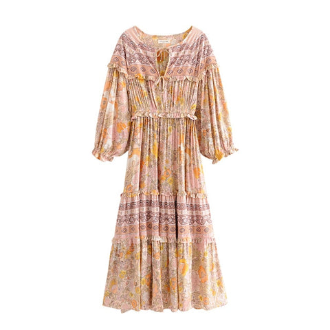 Ruffles Floral Long Sleeve Vintage Dress