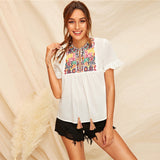 White Tassel Embroidery Top Boho Blouse