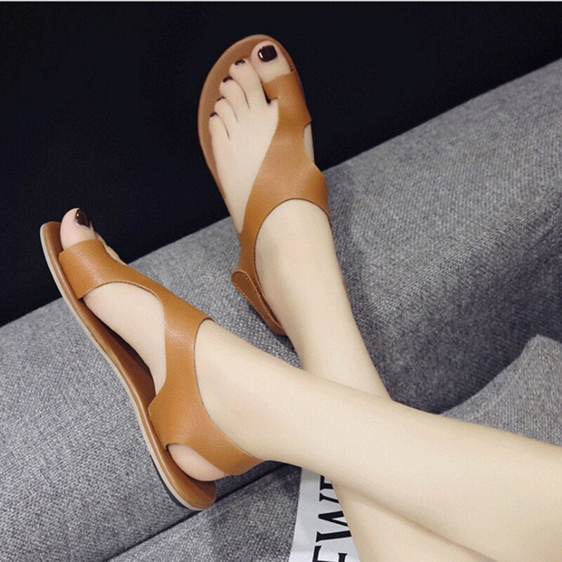 Casual Ankle Strap Roman Flat Clip Toe Shoes Flat Sandals