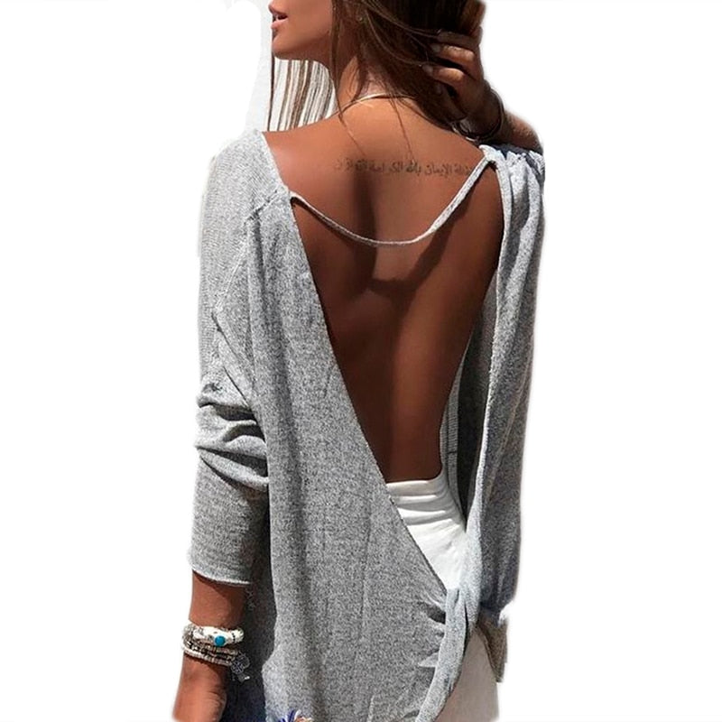 backless sexy solid Tops