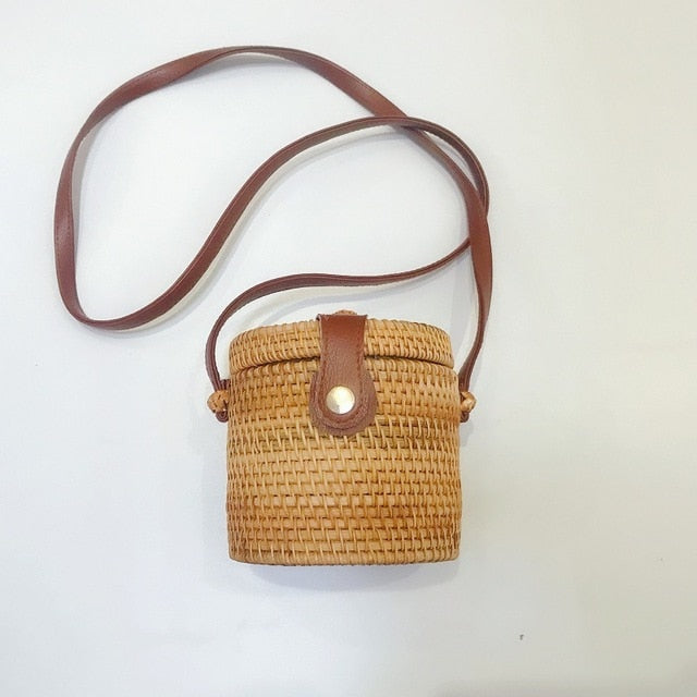 Retro Rattan Bucket Tote Bag