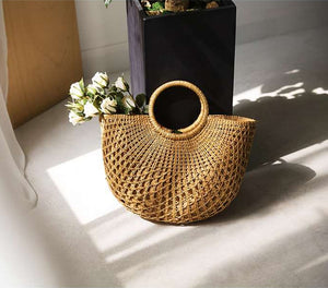 Hand-Woven Hollow Handbag Moon Shape Rattan Bag
