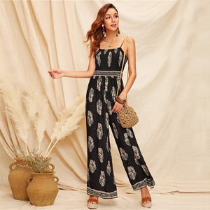 Boho Black Tribal Print Shirred Bodice Split Side Cami Jumpsuit