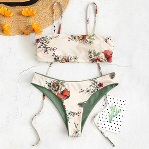 Floral Tie Shoulders Reversible Bikini Two Pieces Set