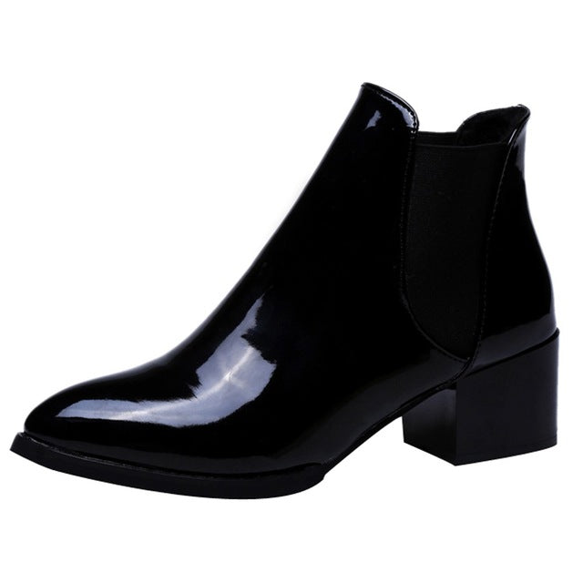 Pointed Low Heel Elasticated Patent Leather Ankle Boots