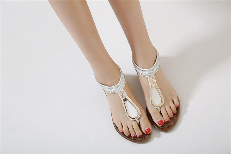 Bohemia Ethnic Sandals Thong Wedge Shoes