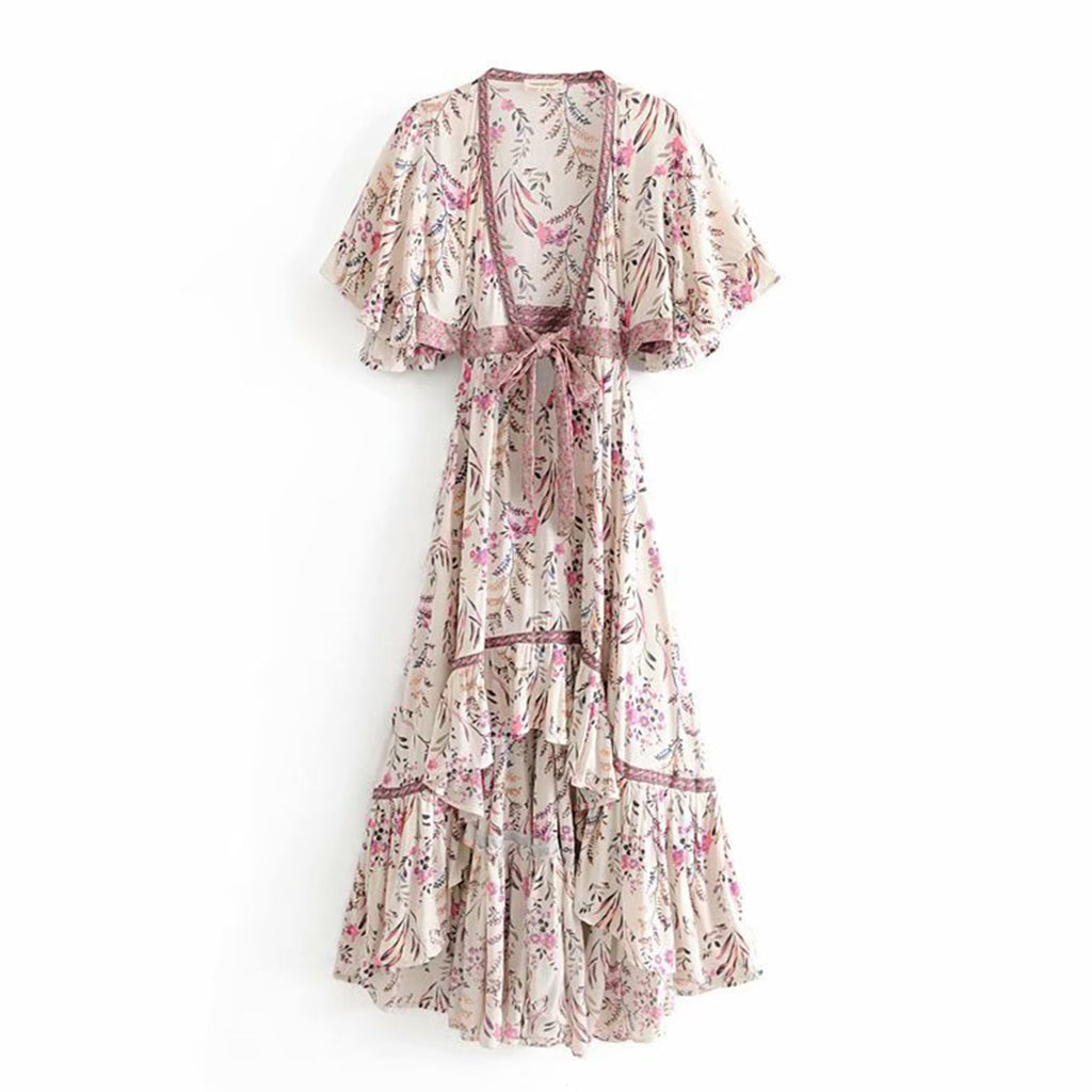 Boho Chic High-Low Hem Floral Print Midi Dress