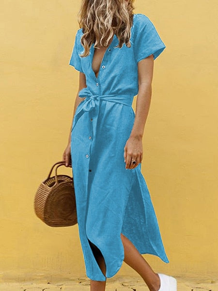 Solid Short Sleeve High Waist Split Shirt Maxi Vintage Button Dress