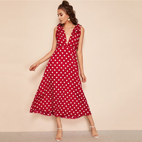 Tie Shoulder Plunging Neck Polka Dot Maxi Dress