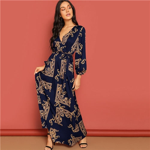 Scarf Print Belted Wrap Casual Maxi Dress