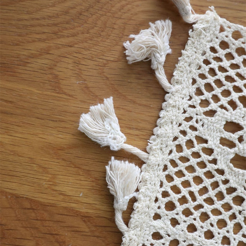 Cotton White Crochet Table Runner