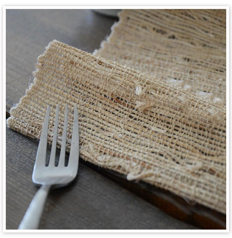 vintage beige ramie linen table runners